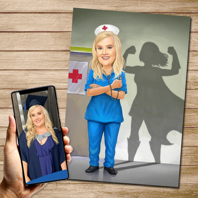 Blue Nurse Superhero Custom Canvas Mural Heroes Digital Artwork only (NO CANVAS)