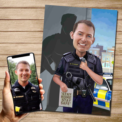Policeman US Superhero Mural Heroes DIGITAL DOWNLOAD JPG