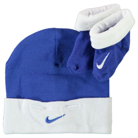 Nike blue and white hat and sock set