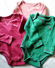 Puma Baby Girls bodysuits- pink, green and light pink