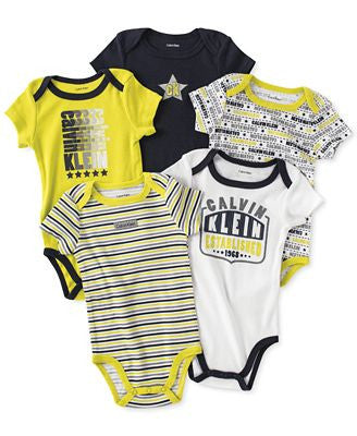 Calvin Klein Baby Boys bodysuits black and yellow