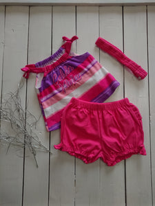 Calvin Klein Baby Girl's 3-Piece Headband, Top & Shorts Set