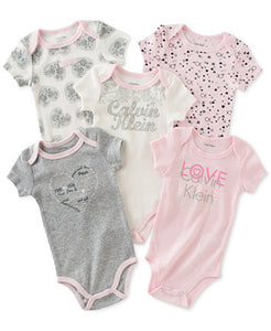 Calvin Klein, baby girls, 5-Pk. Flowers and hearts pink
