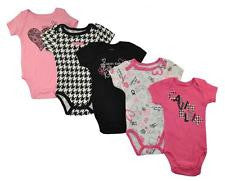 Calvin Klein, baby girls black and bright pink bodysuits