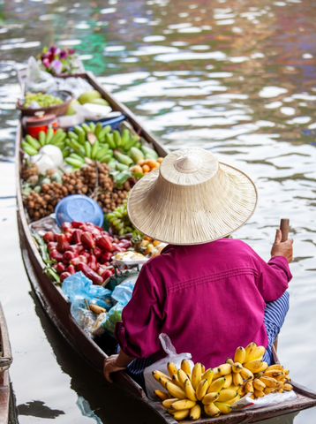 benefits of a sustainable diet: boat carrying fruit and vegetables