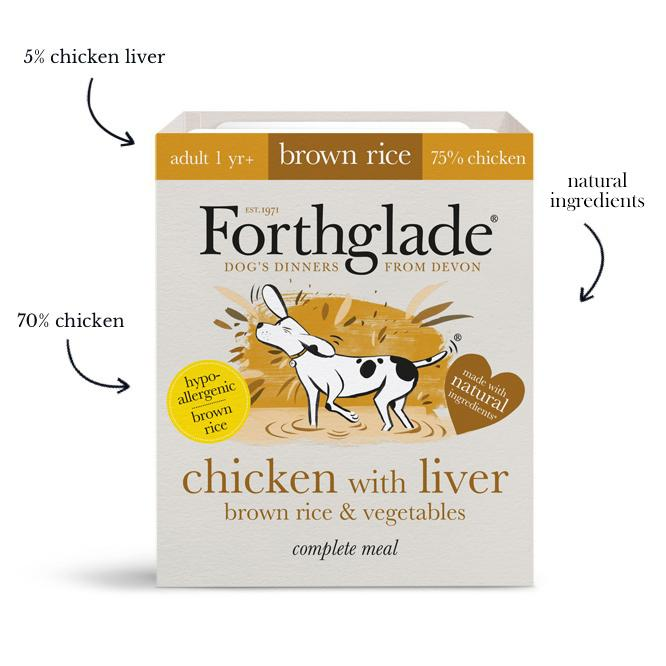 Forthglade Complete Meal Adult Chicken with Liver, Brown Rice & Veg 18x395g