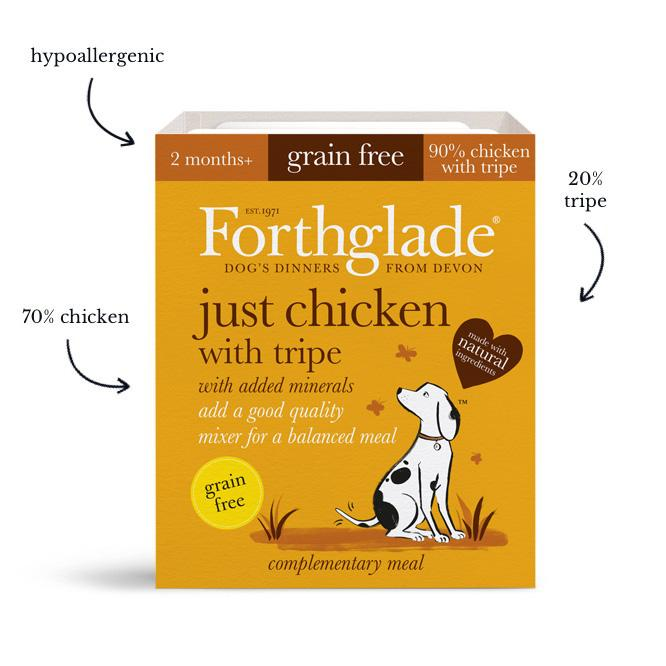 Forthglade Just 90% Grain Free Chicken with Tripe 18x395g