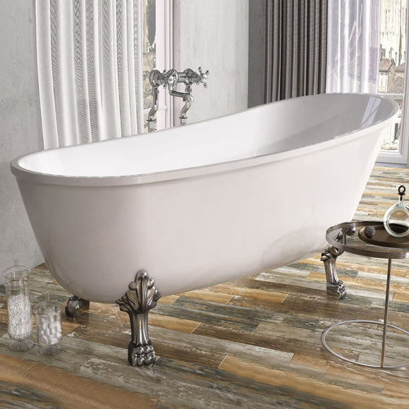 Mormont Traditional Freestanding Roll Top Bath with Chrome Claw Feet