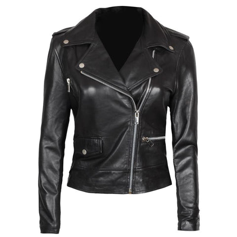 Image of Amber Asymmetrical Black Biker Jacket Women