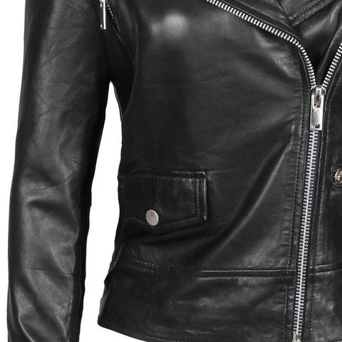 Amber Asymmetrical Black Biker Jacket Women
