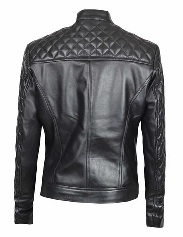 Ellen Slim Fit Quilted Leather Jacket For Women