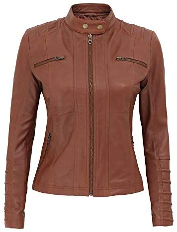 Aversa Tan Quilted Biker Leather Jacket Women