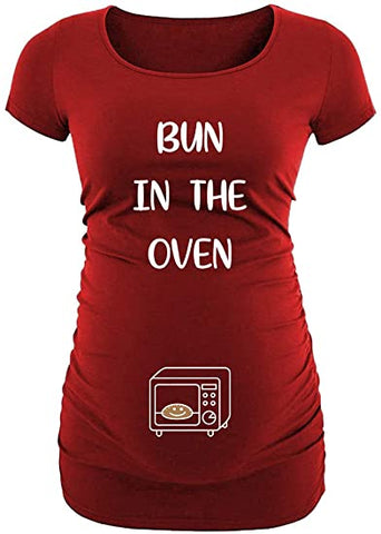 Red - Mts Bun in Oven Maternity Shirt
