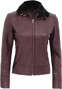 Ancona Belted Shearling Collar Leather Jacket Women