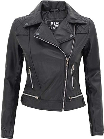 Asti Quilted Black Leather Jacket Women
