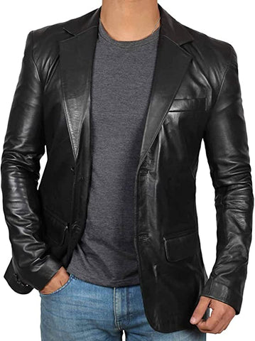 Puccio Mens Black Leather Blazer Jacket