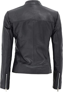 Aprilia Black Fitted Leather Jacket Women