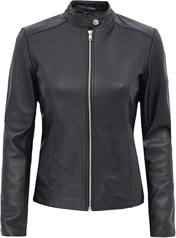 Image of Aprilia Black Fitted Leather Jacket Women