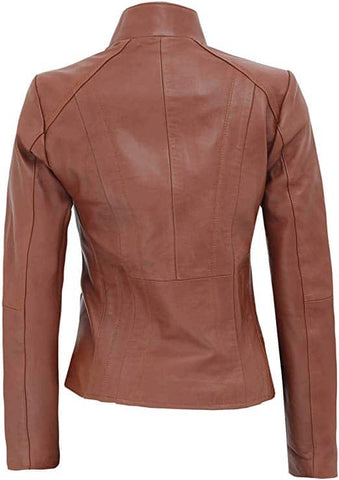 Image of Anzio Tan Leather Jacket Womens
