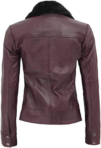 Image of Ancona Belted Shearling Collar Leather Jacket Women