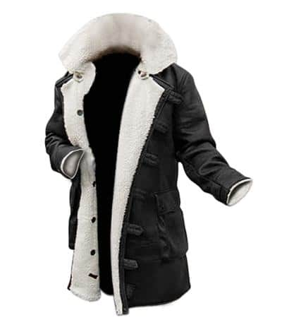 Mens Black Leather Shearling Jacket Bane Coat