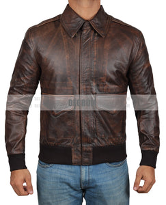 Ernest Waxed Brown Leather Jacket