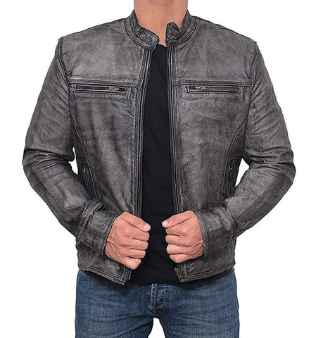 Garcia Distressed Grey Leather Jacket