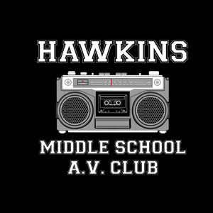 Womens Black Radio Hawkins Middle School T Shirt