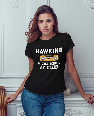 Image of Womens Yellow Radio Hawkins T Shirt