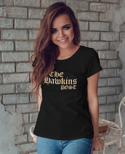 Womens Black The Hawkins Post T Shirt
