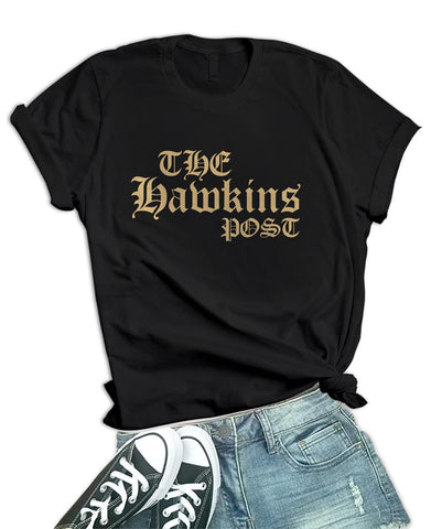 Image of Womens Black The Hawkins Post T Shirt