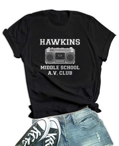 Image of Womens Black Radio Hawkins Middle School T Shirt