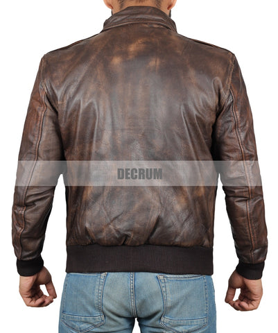 Image of Ernest Waxed Brown Leather Jacket