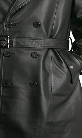 Augusta Black Leather Trench Coat Mens