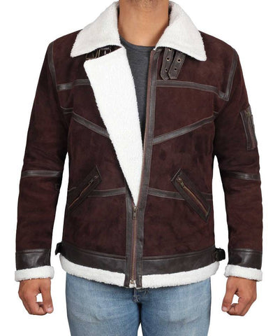 IOWA Shearling B2 Bomber Dark Brown Suede Leather Jacket