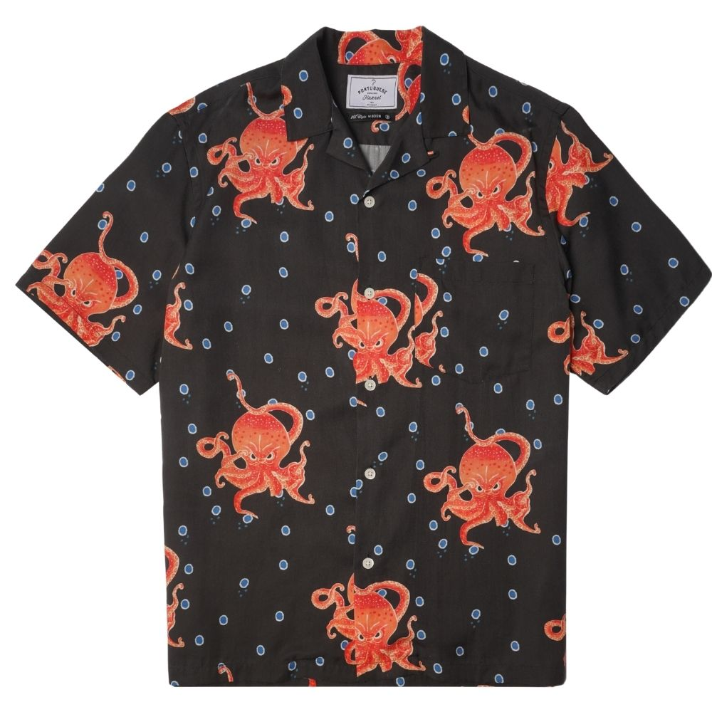 Portuguese Flannel Great Octopus Print Shirt in Black
