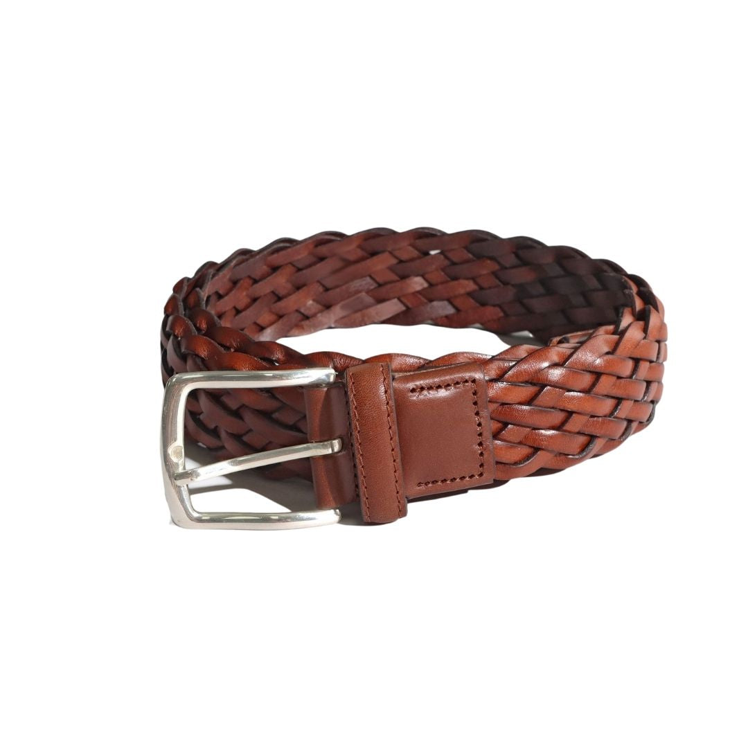 Far Afield Woven Leather Belt in Brown Leather