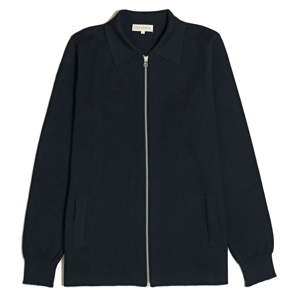 Far Afield Alexsey Zip Through Cardigan in Navy