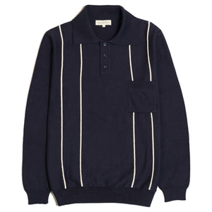 Far Afield Alfaro Knitted Polo in Navy