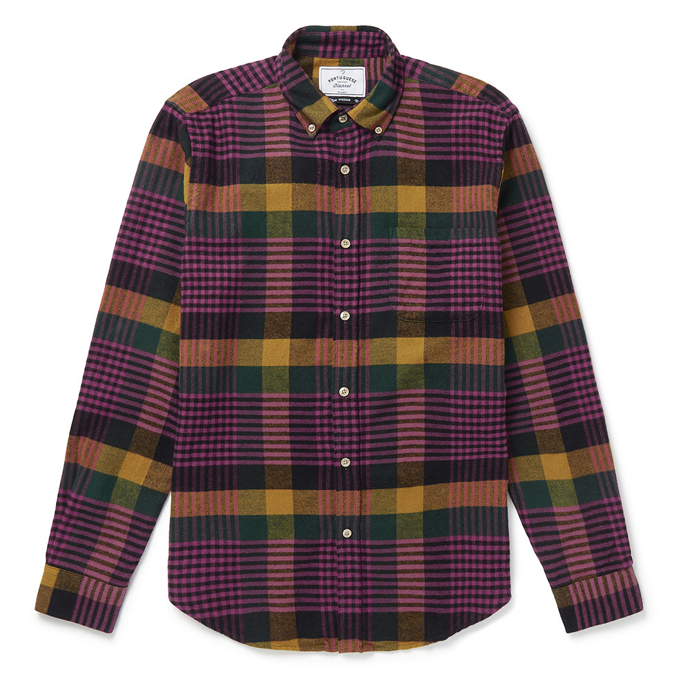 Portuguese Flannel Laredo Check Shirt in Black