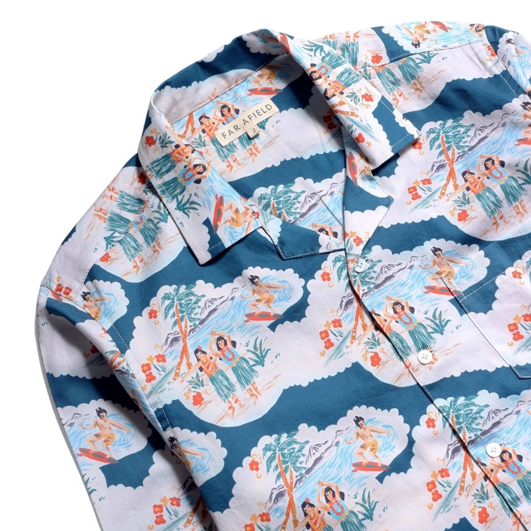 Far Afield Waiki Stachio Shirt in Blue