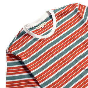 Far Afield Soy Stripe T-Shirt in Arabesque/Sage Green