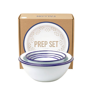 Falcon Enamelware Prep Set in White/Blue