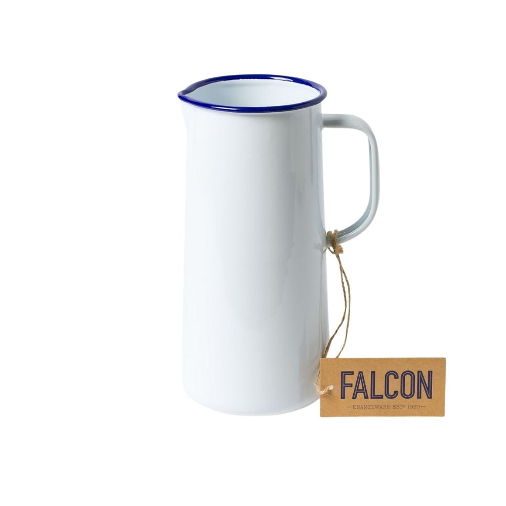 Falcon Enamelware Three Pint Jug in White/Blue