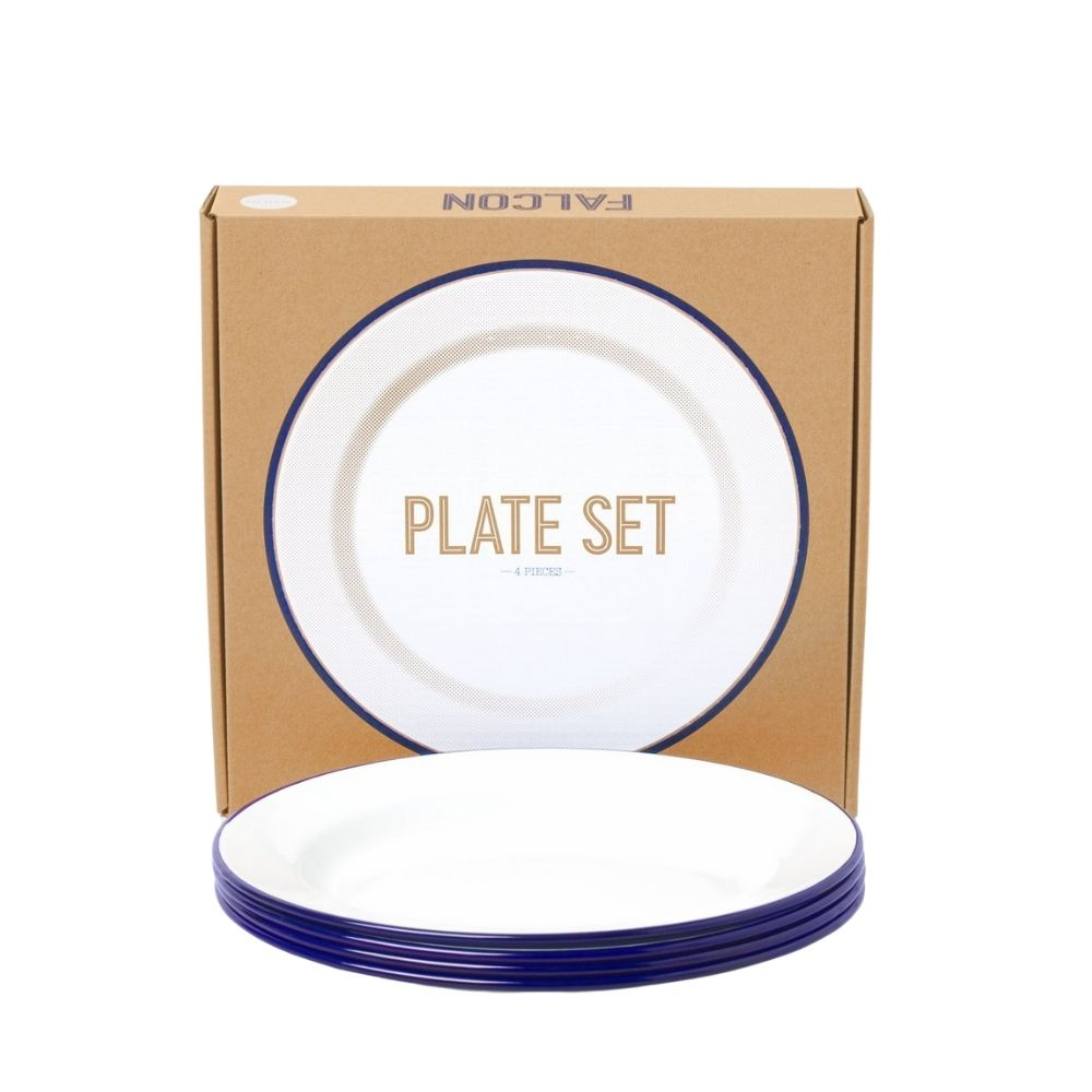 Falcon Enamelware Plate Set in White/Blue