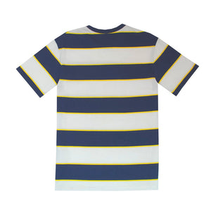 Hikerdelic Wide Stripe Short Sleeve T-Shirt in White and Navy