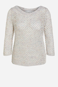 OUI MESH SWEATER IN WHITE PURPLE
