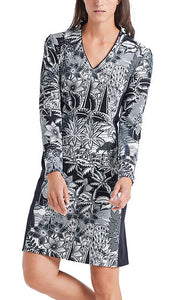 PRINTED DRESS IN SCUBA JERSEY