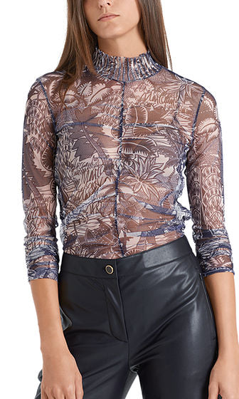 MARC CAIN PRINTED LONG-SLEEVED MESH TOP