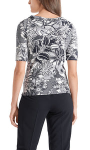 MARC CAIN RIBBED COTTON TOP WITH PRINT